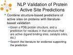 nlp validation of protein active site predictions