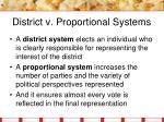 district v proportional systems
