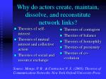 why do actors create maintain dissolve and reconstitute network links