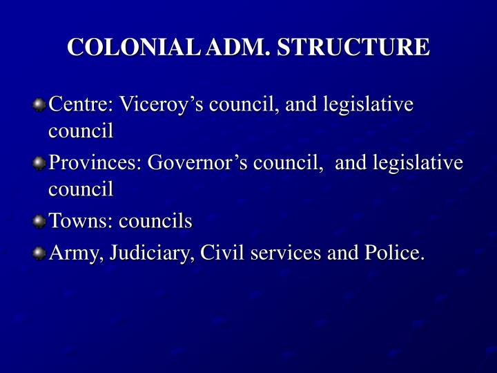 colonial adm structure n.