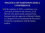 politics of partition simla conference