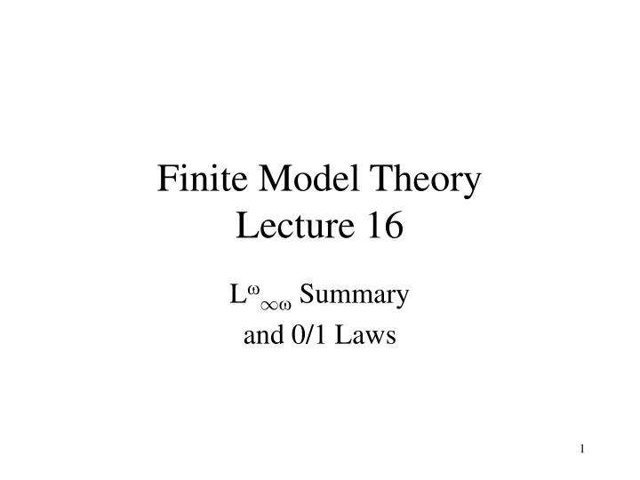 Finite model theory lecture 16