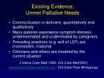 existing evidence unmet palliative needs
