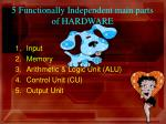 5 functionally independent main parts of hardware