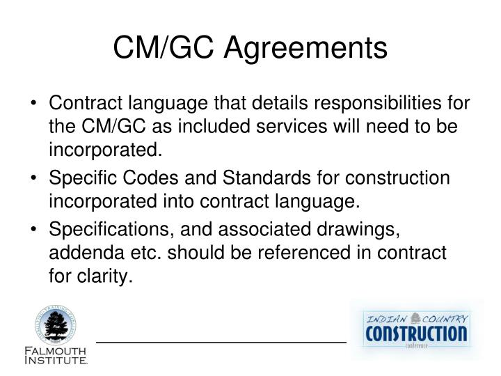 CM/GC Agreements