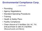 environmental compliance corp continued