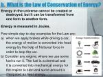 b what is the law of conservation of energy