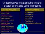 a gap between statistical tests and cluster definitions used in practice1