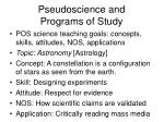 pseudoscience and programs of study