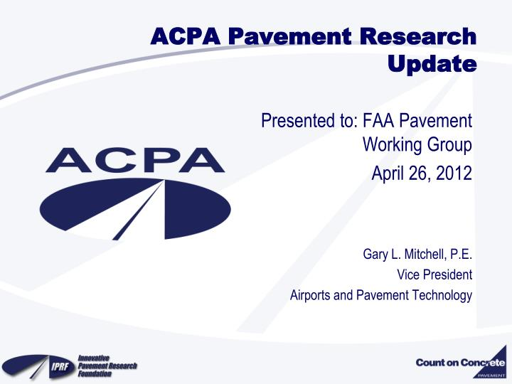 acpa pavement research update n.