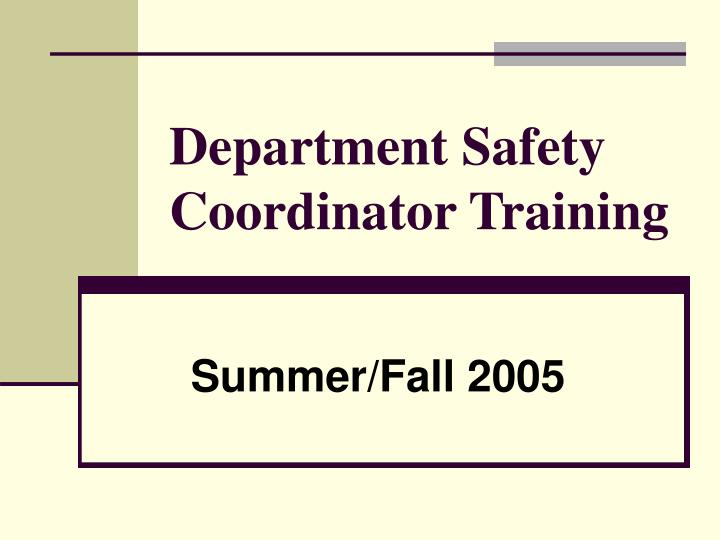 department safety coordinator training n.