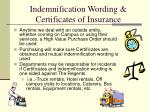 indemnification wording certificates of insurance