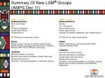 summary of new lsm groups amps dec 11