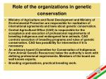 role of the organizations in genetic conservation