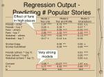 regression output predicting popular stories