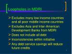 loopholes in mdri