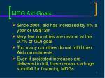 mdg aid goals