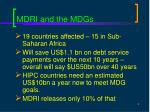 mdri and the mdgs