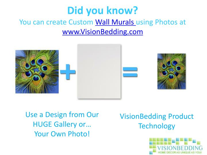 Did you know you can create custom wall murals using photos at www visionbedding com