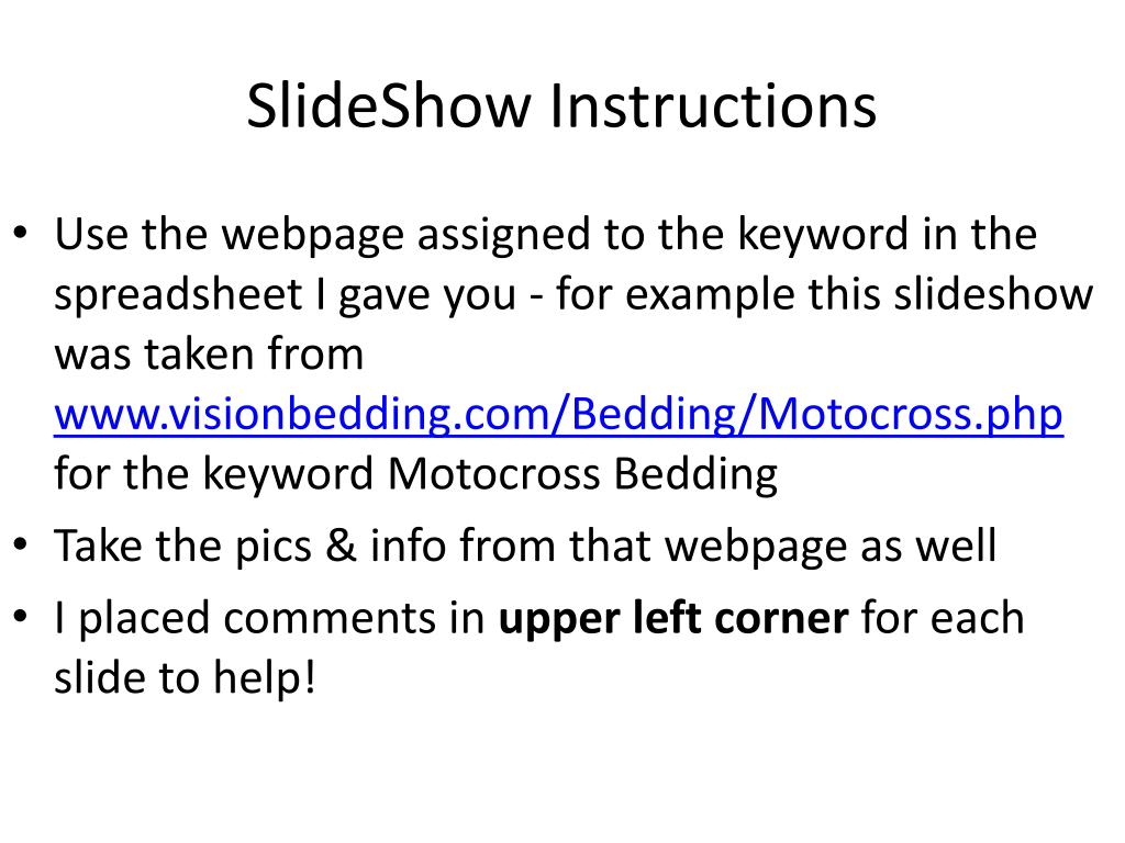 slideshow instructions l.