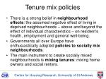tenure mix policies