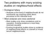 two problems with many existing studies on neighbourhood effects