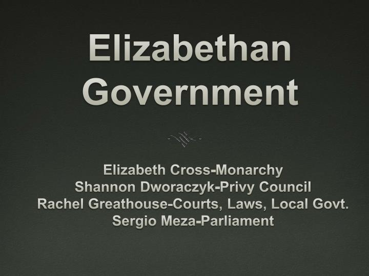 elizabethan government n.