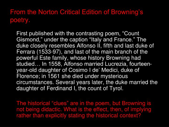 from the norton critical edition of browning s poetry n.