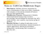 notes re uom core middleware stages
