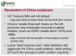 resolution of china surpluses