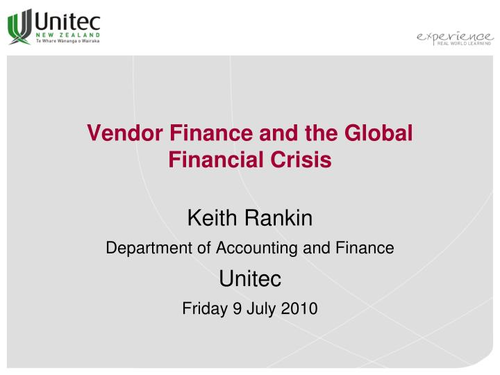 vendor finance and the global financial crisis n.