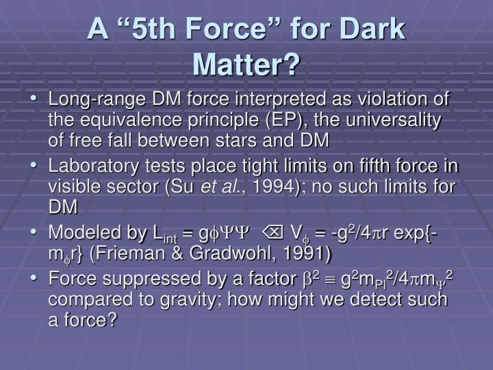 """A """"5th Force"""" for Dark Matter?"""