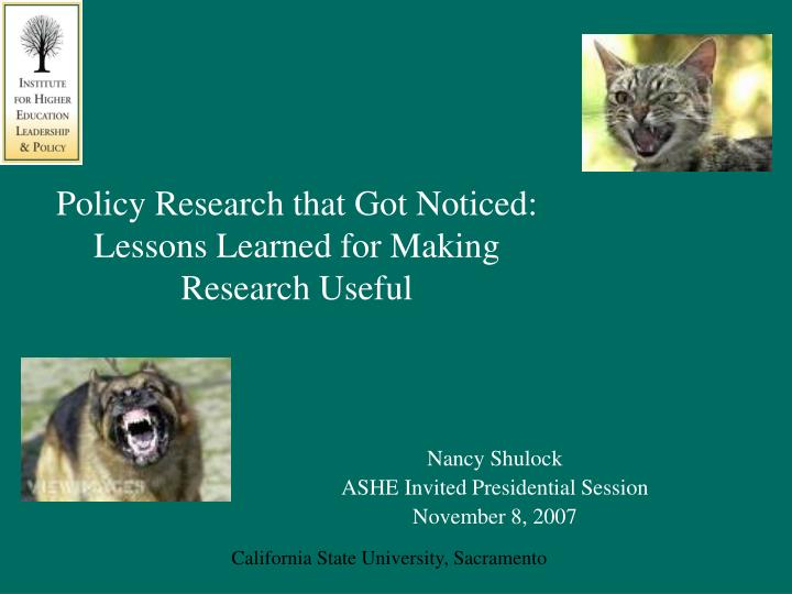 policy research that got noticed lessons learned for making research useful n.