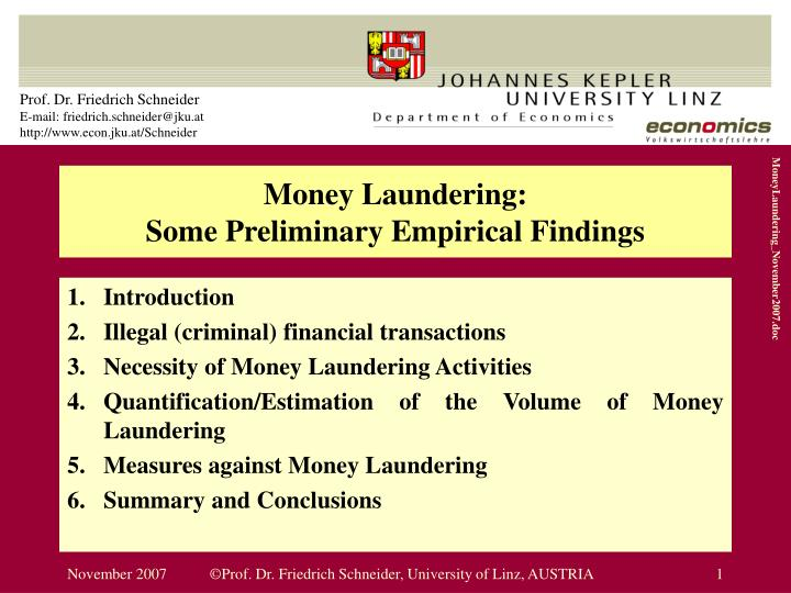 money laundering some preliminary empirical findings n.