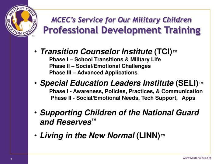 MCEC's Service for Our Military Children