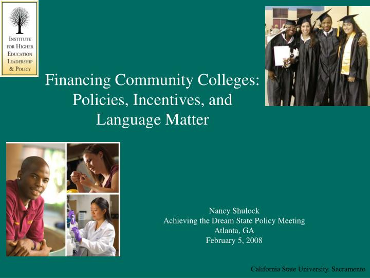 financing community colleges policies incentives and language matter n.