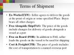 terms of shipment