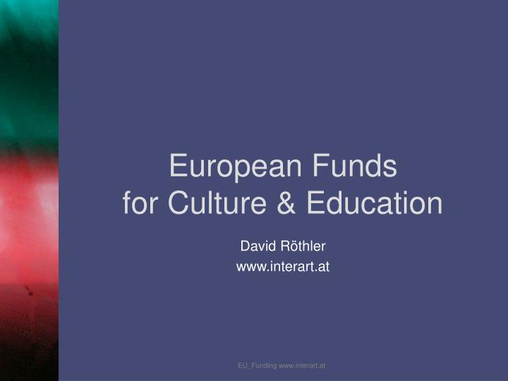 european funds for culture education n.