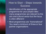 how to start steps towards success