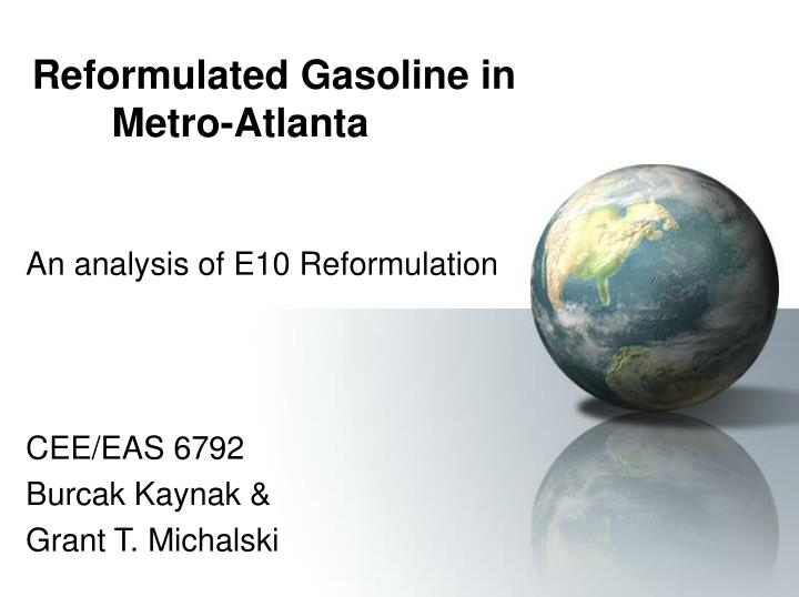 reformulated gasoline in metro atlanta n.