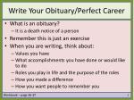 write your obituary perfect career