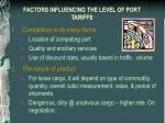 factors influencing the level of port tariffs