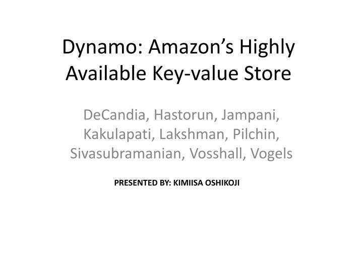 dynamo amazon s highly available key value store n.