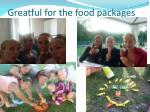 greatful for the food packages