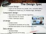 the design spec