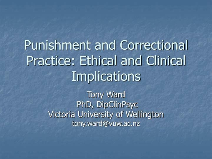 punishment and correctional practice ethical and clinical implications n.