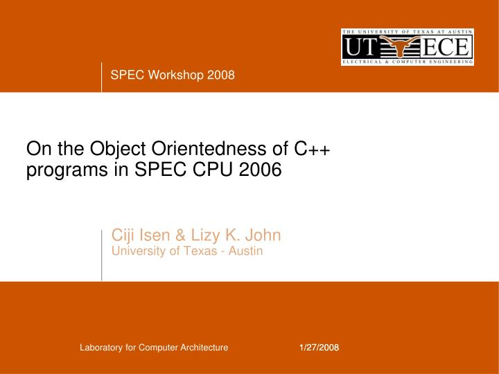 on the object orientedness of c programs in spec cpu 2006 n.