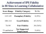achievement of ips fidelity in 88 sites in learning collaborative