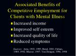 associated benefits of competitive employment for clients with mental illness