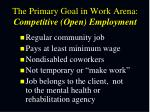 the primary goal in work arena competitive open employment
